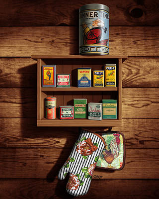 The Past Digital Art - Wall Spice Rack - Americana Kitchen Art Decor - Vintage Spice Cans Tins - Nostalgic Spice Rack by Walt Curlee