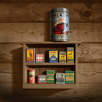 The Past Digital Art - Wall Spice Rack - Americana Kitchen Art Decor - Vintage Spice Cans Tins - Square Format by Walt Curlee
