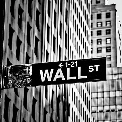 Photograph - Wall St Sign New York In Black And White by Garry Gay