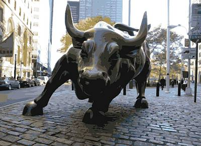 Bull Digital Art - Wall Street Bull Color 16 by Scott Kelley