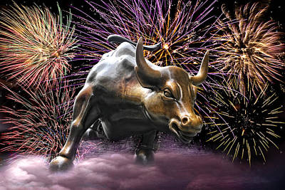 Photograph - Wall Street Bull Fireworks by Wes and Dotty Weber