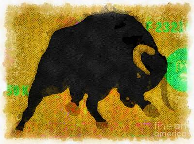Wall Street Bull Market Series 2 Art Print by Edward Fielding