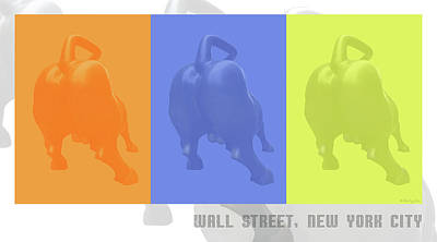 Digital Art - Wall Street Bull by Xueling Zou