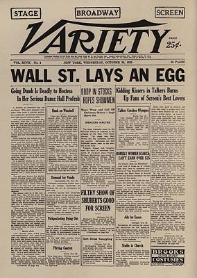 Wall Street Lays An Egg. Famous Art Print by Everett