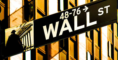Black Commerce Painting - Wall Street Signs In New York City Close-up View by Lanjee Chee
