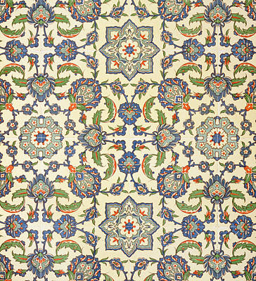 Phone Case Drawing - Wall Tiles Of Qasr Rodouan by Emile Prisse d'Avennes