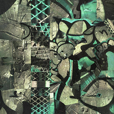 Silver Turquoise Mixed Media - Wall To Wall by Scott Steelman