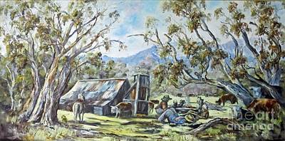 Painting - Wallace Hut, Australia's Alpine National Park. by Ryn Shell