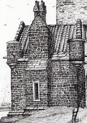 Pen And Ink Tree Drawing - Wallace Monument  The Small House by Vincent Alexander Booth