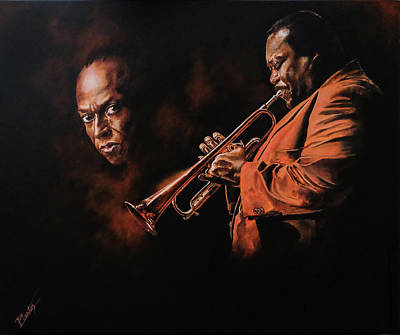 Painting - Wallace Roney Playing Miles by Pascal Martos
