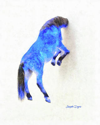Walled Blue Horse Art Print by Leonardo Digenio