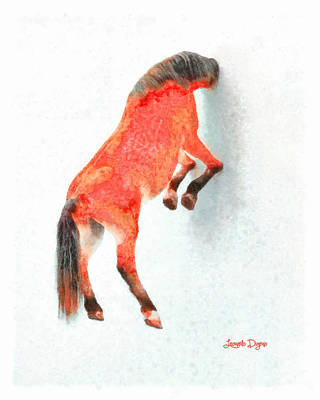 Suspended Digital Art - Walled Red Horse - Da by Leonardo Digenio