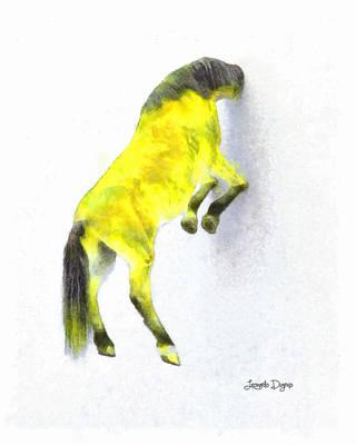 Horse Head Digital Art - Walled Yellow Horse - Da by Leonardo Digenio
