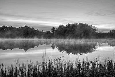 Photograph - Wallis Sands Marsh Smoke On The Water Rye Nh Black And White by Toby McGuire