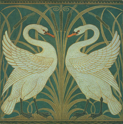 Swans... Painting - Wallpaper Design For Panel Of Swan Rush And Iris by Walter Crane