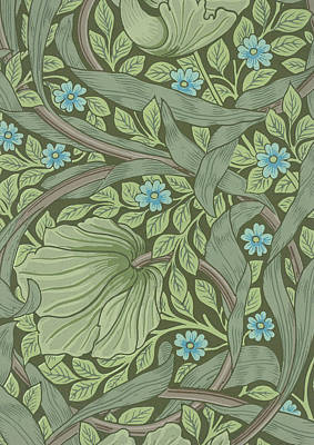 Morris Painting - Wallpaper Sample With Forget-me-nots by William Morris