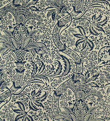 Leaf Drawing - Wallpaper With Navy Blue Seaweed Style Design by William Morris