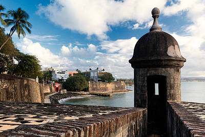 Garita Photograph - Walls Of Old San Juan With A Sentry Box  by George Oze