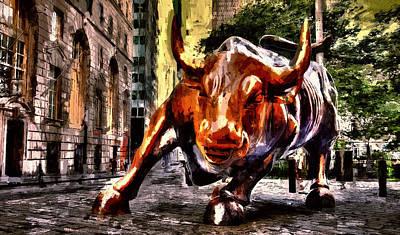 Buy Bonds Digital Art - Wallstreet Bull by John K Woodruff
