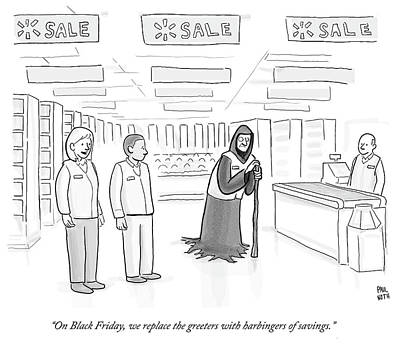 Drawing - Walmart Black Friday by Paul Noth