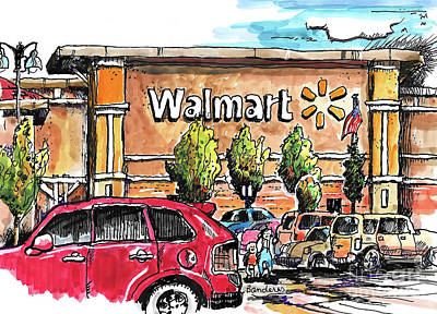 Painting - Walmart Sketching by Terry Banderas