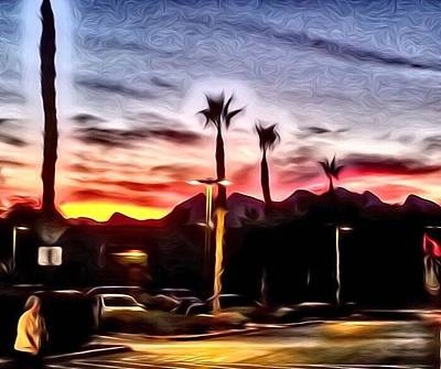 Digital Art - Walmart Sunset  by Karen Buford