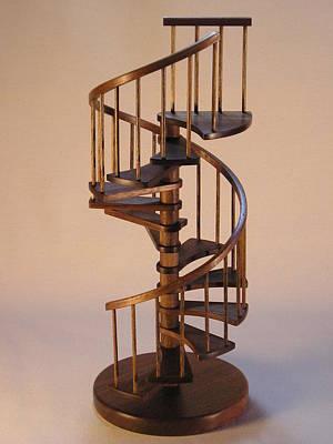 Walnut Spiral Staircase  Print by Don Lorenzen
