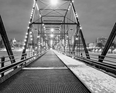 Photograph - Walnut St. Bridge At Night by John Daly