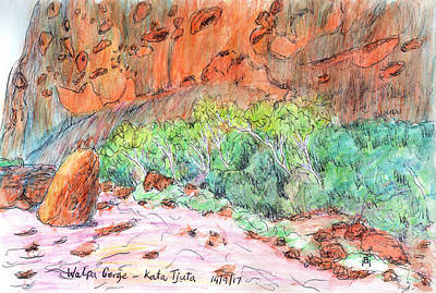 Drawing - Walpa Gorge by Anne Huth