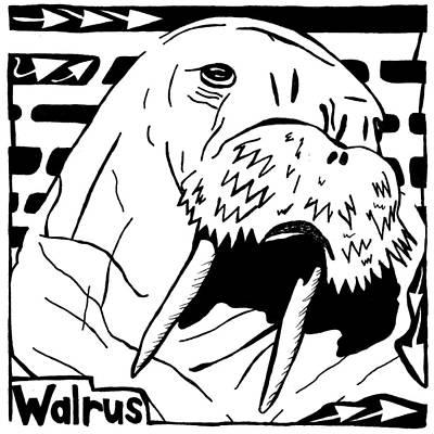 Walrus Maze Art Print by Yonatan Frimer Maze Artist