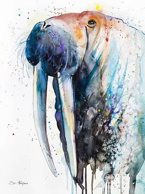 Walrus Painting - Walrus  by Slavi Aladjova