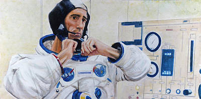 Nasa Painting - Walt Cunningham by Simon Kregar