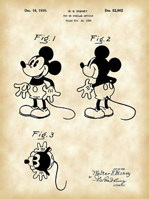 Walt Disney Mickey Mouse Patent 1929 - Vintage Art Print by Stephen Younts