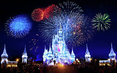 Walt Disney World Fireworks  Art Print by Mark Andrew Thomas