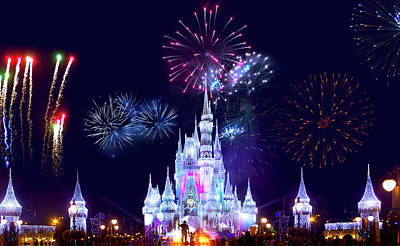 Photograph - Walt Disney World Fireworks Spectacular by Mark Andrew Thomas