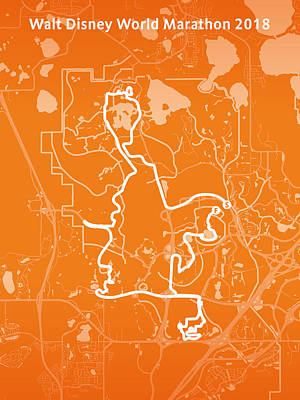 Walt Disney World Digital Art - Walt Disney World Marathon Orange by Big City Artwork