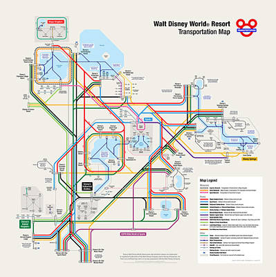 Themes Digital Art - Walt Disney World Resort Transportation Map by Arthur De Wolf