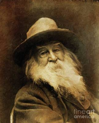 Literature Painting - Walt Whitman, Literary Legend By Mary Bassett by Mary Bassett