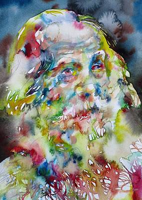 Painting - Walt Whitman - Watercolor Portrait.5 by Fabrizio Cassetta