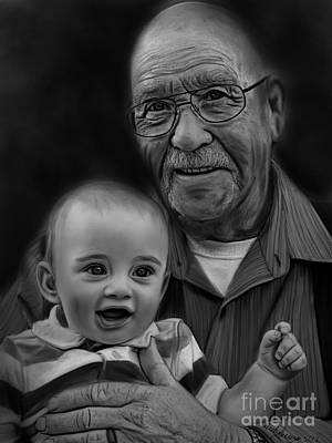 Drawing - Walter And Grandpa by Becky Herrera