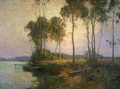 Ceramics Painting - Walter Granville-smith 1870-1938  Sentinel Trees,  Bellport, Long Island by Celestial Images