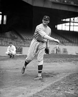 Pitching Photograph - Walter Johnson by American School