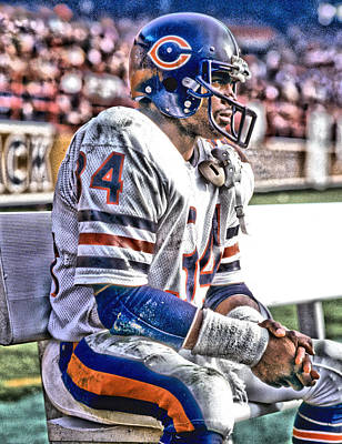 Polar Bear Mixed Media - Walter Payton Chicago Bears Art 2 by Joe Hamilton