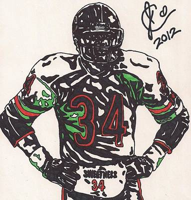 Nfl Player Drawings Drawing - Walter Payton by Jeremiah Colley