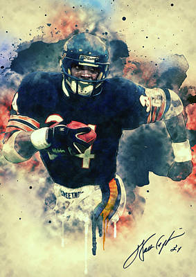 Portraits Royalty-Free and Rights-Managed Images - Walter Payton by Zapista