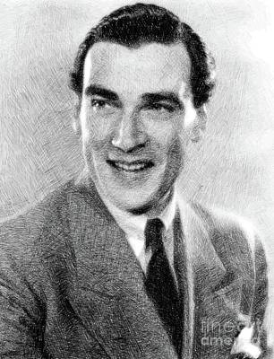 Musicians Drawings - Walter Pidgeon, Vintage Actor by JS by John Springfield