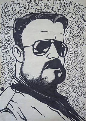Lebowski Drawing - Walter Quotes by William Gale