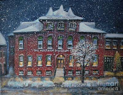 Painting - Waltham Museum On A Snowy Evening by Rita Brown