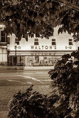 Photograph - Walton Five And Dime - Downtown Bentonville Arkansas - Sepia   by Gregory Ballos