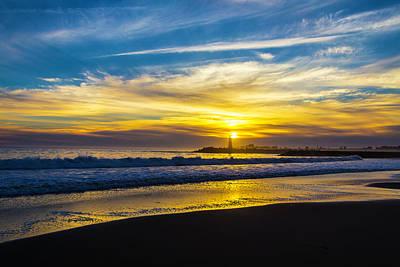 Photograph - Walton Lighthouse Setting Sun by Garry Gay